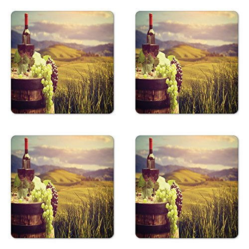 Vineyard Harvest (Ambesonne Wine Coaster Set of Four, Italy Tuscany Landscape Rural Vineyard Autumn Harvest Grapes Drink Viticulture, Square Hardboard Gloss Coasters for Drinks, Green Black Brown)