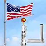 6-section 30 ft Aluminum Rustproof Telescopic Flag Pole Kit comes with Tire Mount Wheel Stand + US Flag & Gold Ball Finial