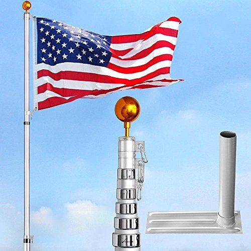 6-section 30 ft Aluminum Rustproof Telescopic Flag Pole Kit comes with Tire Mount Wheel Stand + US Flag & Gold Ball Finial by Generic