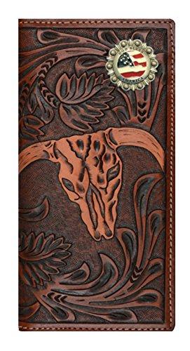 and Long 3D God Long America Wallet Skull Cow Company Brown Bless Tan Custom Checkbook Belt wzqdpRYY