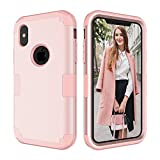 iPhone X Case,CASY MALL 3-Layer Heavy Duty Hybrid Full-Body Protect Case for Apple iPhone X 5.8 Inch 2017 Release Rose Gold
