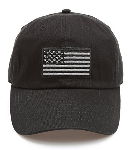 MIRMARU Tactical Operator USA Flag Cotton Low Profile Cap with Adjustable Strap (Black)