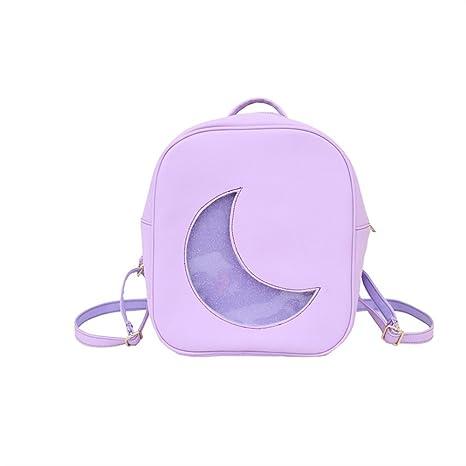 Tery Bonita Mochila Regalo Trend Moon Shape Cute Mochila Mochila de Personalidad Pequeña Mochila (Morado