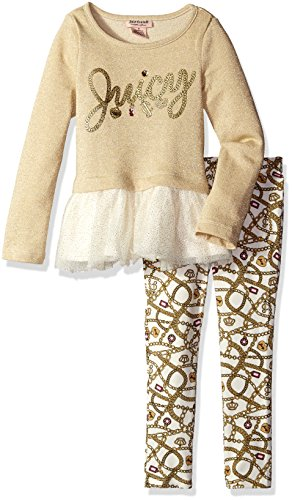 Juicy Couture Little Girls' Toddler French Terry Tunic with Sparkle Mesh and Leggings, Gold, 3T