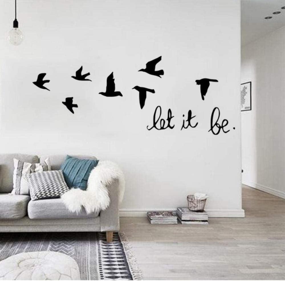 57 * 22 cm negro dejarlo volar carta pájaro etiqueta de la pared decoración para el hogar sala de estar dormitorio pared de plástico negro mural art poster