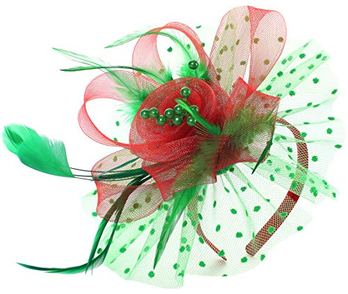 Myjoyday Christmas Feather Fascinators Cocktail Tea Party Headbands Wedding Hats Headwear for Women Hat Hair Clip (Red & Green)]()