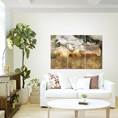 Bilder-Natur-Hirsche-Wandbild-120-x-80-cm-3-Teilig-Vlies-Leinwand-Bild-XXL-Format-Wandbilder-Wohnzimmer-Wohnung-Deko-Kunstdrucke-Braun-100-MADE-IN-GERMANY-Fertig-zum-Aufhngen-011431a