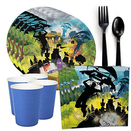 (BirthdayExpress Battle Royale Video Game Party Supplies - Standard Tableware Party Pack for 8 Guests)