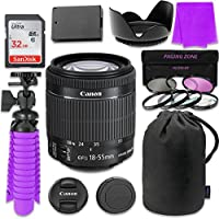 Canon EF-S 18–55mm f/3.5–5.6 IS STM Lens Bundle w/ SanDisk 32GB Memory Card, LP-E6 Replacement Battery & 58mm 3 Piece Filter Kit for Canon EOS 70D, 80D Digital SLR Cameras