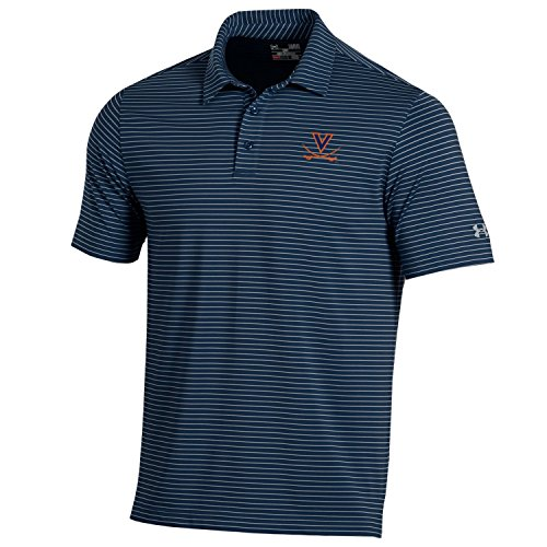 Under Armour NCAA Virginia Cavaliers Men's Playoff Short sleeve Stripe Polo Shirt, Large, - Stripes Virginia Cavaliers Ncaa