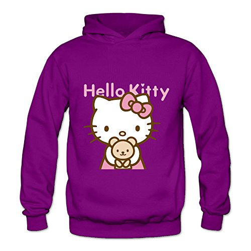 Hello Kitty Clothing For Adults (Lennakay Work Adult's Hello Kitty Hoodie With No Pocket Purple For Woman SizeM)