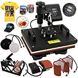 SUPER DEAL PRO 6 in 1 Digital Swing Away Heat Press Clamshell Transfer Machine, T-Shirts Heat Press + Cap/Hat Press + Mug Press + Plates Press. All in One (6in1)