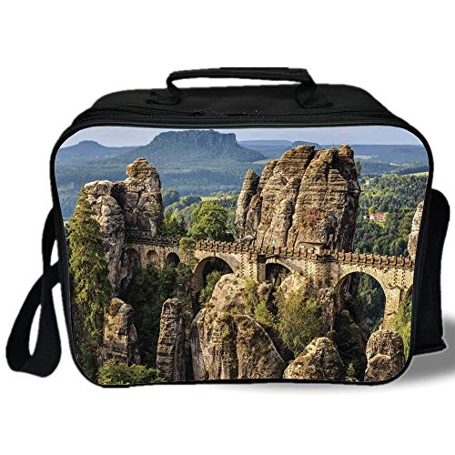Medieval Decor 3D Print Insulated Lunch Bag,Famous Historical Bastion Bridge in Swiss Germany Middle Age Culture Heritage Photo Art,for Work/School/Picnic,Grey Green]()