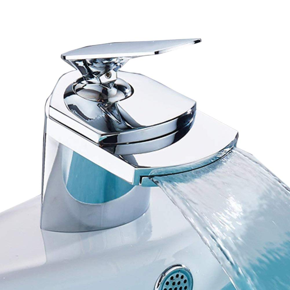Mono Basin Mixer Waterfall Tap Bathroom Sink Waste Single Lever Faucet, Chrome Finshed XINYU TRADE