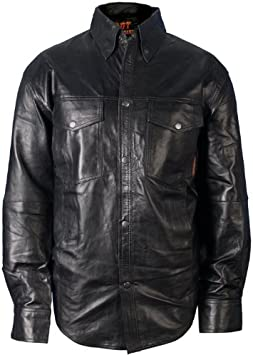Hot Leathers Mens Leather Shirt Black, Large