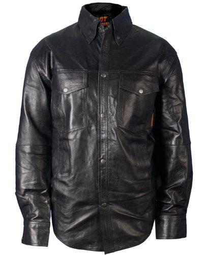 Hot Leathers Men's Leather Shirt (Black, X-Large)