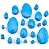 "1 Pair of 5/8"" (16mm) Turquoise Howlite Stone Teardrop Plugs / Gauges"