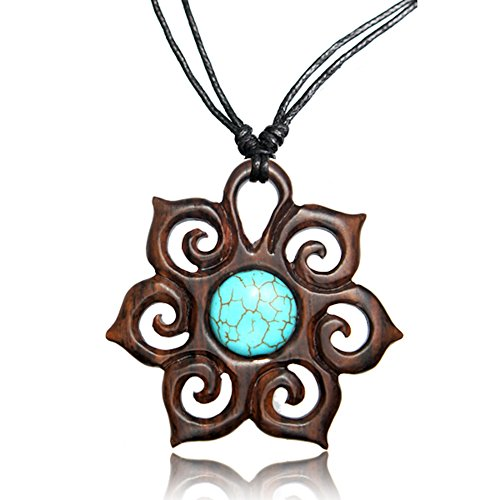 Earth Accessories Adjustable Carved Pendant Necklace with Organic Wood and Synthetic Turquoise Stone - Beeswax Necklace Beads