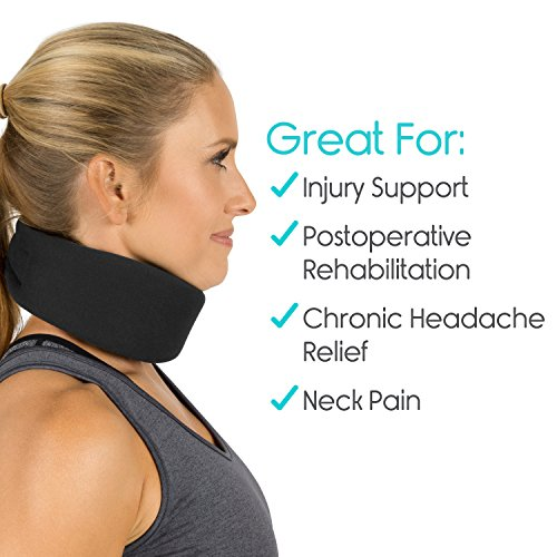 Neck Brace by Vive - Cervical Collar - Adjustable Soft Support Collar Can Be Used During Sleep - Wraps Aligns & Stabilizes Vertebrae - Relieves Pain & Pressure in Spine (Thin, Black) by VIVE (Image #3)