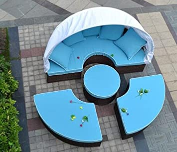 Bellagio 4-piece Outdoor Daybed Sectional Set Aquamarine with free nice gift