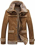 FLCH+YIGE Mens Winter Single Breasted Lamb Wool Lined Parka Suede Coat Overcoat Camel XL