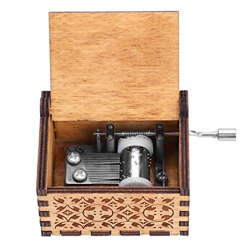 (Akozon Music Box 10pc Wooden Hand Crank Music Box Mechanical Hand Crank Classic Craft Birthday Gift)