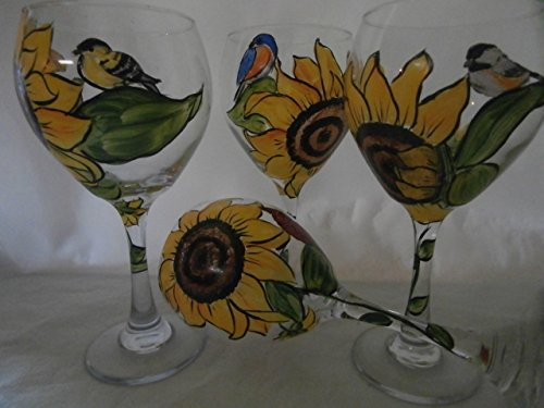 - Hand painted sunflower /bird 20 ounce goblets, Usa, set/4. 20 ounce