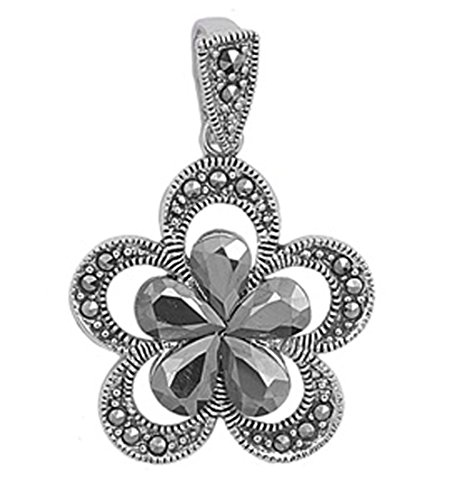 Flower Pendant Simulated Marcasite .925 Sterling Silver Charm - Silver Jewelry Accessories Key Chain Bracelet Necklace Pendants