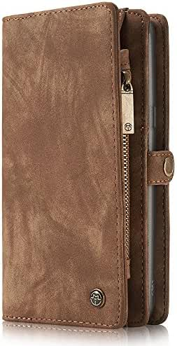 Samsung Galaxy S8 Case Wallet Phone Case Flip Cover Magnetic Detachable Case with Card Slots Brown