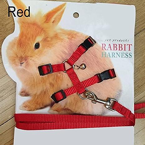 lzndeal Correa de arnés suave para conejo de mascotas con campana ...