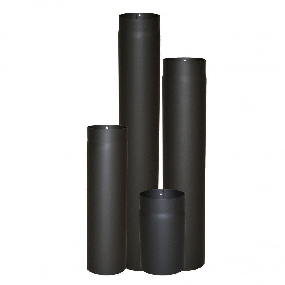 Kamino - Flam - Acero tubo para chimenea, Tubos para estufa de leña, Conducto de humos, Tubo vitrificado, Negro/antracita, Ø 130 mm/longitud 1000 mm: ...