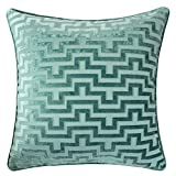 Homey Cozy Modern Maze Throw Pillow Cover,Spa Green Luxury Velvet Soft Fuzzy Cozy Warm Slik Large Sofa Couch Cushion Case 18x18, Cover Only