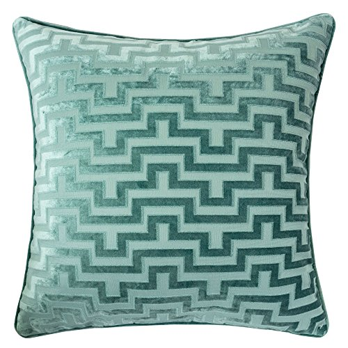 Homey Cozy Modern Maze Throw Pillow Cover,Spa Green Luxury Velvet Soft Fuzzy Cozy Warm Slik Large Sofa Couch Cushion Case 18x18, Cover Only by Homey Cozy