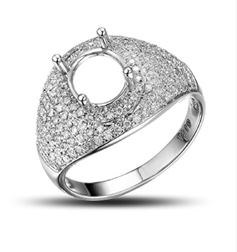 (GOWE Gorgeous Oval 6x7mm 14kt White Gold Unplated 0.70ct Pave Set Diamond Semi Mount Ring)