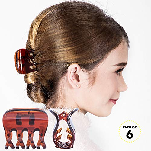Claw Interlocking - RC ROCHE ORNAMENT Womens Plastic Jaw Claw Comb Clamp No Slip Grip Claws Strong Hold Interlocking Teeth Fashion Salon Beauty Girls Accessories Hair Clip, 6 Pack Count Medium Brown