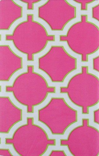 "Geometric Link Lattice on Field of Pink Vinyl Flannel Back Tablecloth (52"" x 90"" Oblong)"