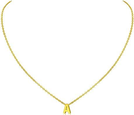 Amazon.com: MOMOL - Collar con inicial pequeña, chapado en ...