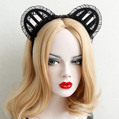 Cintas de Pelo para Mujer, Halloween Navidades Discotecas Mostrar Estereo Lace Cat Orejas Vello Femenino Hoop Joyeria Erotica, Elastico Suave Envoltura De Cabeza Elastica Hairband Lindo Accesori