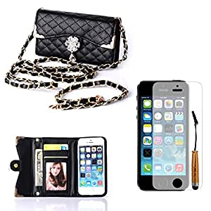 iPhone 5/5S Case, Focuson(TM) Fashion Wristlet Diamond PU Leather Full Body Protector Chains Hangbag Pouch for iPhone 5 5S-Black