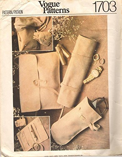 Costume Jewelry 1970's (Vogue 1703 Sewing Pattern Cosmetic Kit Case Purse Cigarette Case Jewelry Roll)