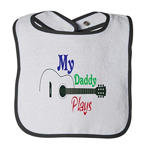 Play White Trim - My Daddy Plays Guitar Cotton Terry Unisex Baby Terry Bib Contrast Trim - White Black, One Size