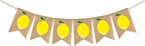 Summer lemon Theme lemon Burlap Banner Party Decoration Swimming Pool Party Barbecue Party(Lemon Banner)