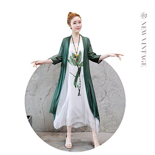 Veni Casual Painting Women's Loose Style Oriental Maxi Beauty 2 Irregular pieces Darkgreen Folk Dress Linen Masee Cotton ffrRw4
