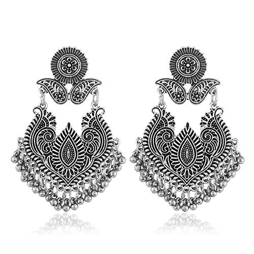 (TOOGOO Retro Hollow Round Pendant Hollow Embroidered Pendant Retro Statement Pendant Earrings Flower Carved Beads Tassel Earrings, Silver)