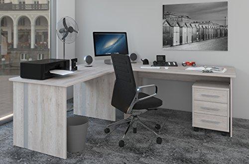 Winkelschreibtisch, Eck Schreibtisch - 4 teilig in Sonoma-Eiche / Sorrento Dekor