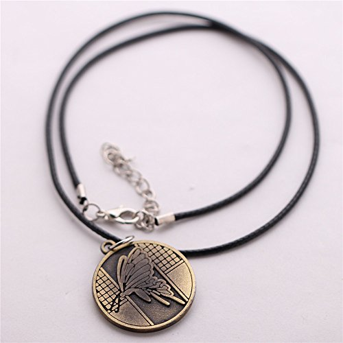 Generic Bleach Logo Hell Butterfly Symbol Coin Pendant Black Leather Braid Cord Necklace