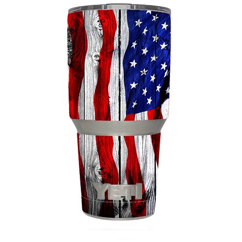 Skin Decal Vinyl Wrap (6-piece kit) for Yeti 30 oz Rambler Tumbler Cup / American Flag on Wood by yetiskins (Image #1)