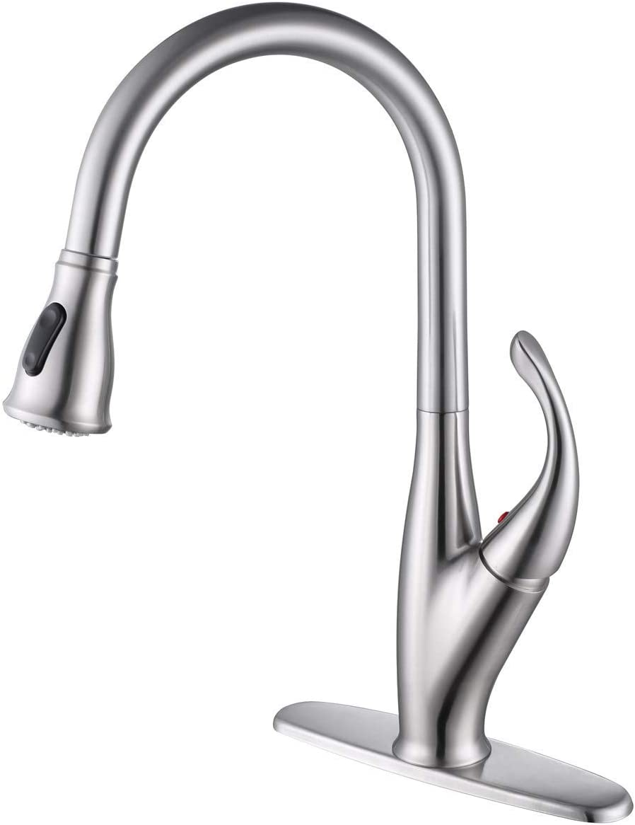 AUKTOPT Kitchen Sink Faucet with Pull Down Sprayer, Brushed Nickel Single Handle PullOut Spray with Deck Plate