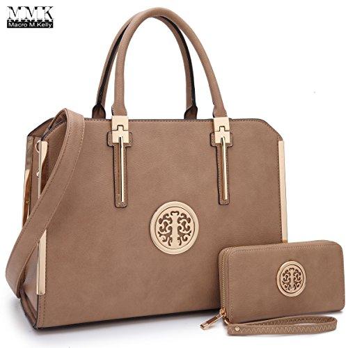 MMK collection Women Fashion Matching Satchel handbags with wallet(6900)~Beautiful Designer tote Handbag Set(7555/BEIGE)