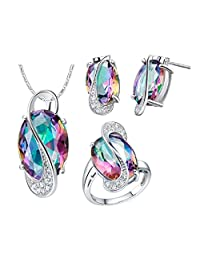 Uloveido Rainbow Multi Color Crystal White Gold Plated Jewelry Necklace Earrings and Ring Set for Women T472